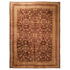 Hand Knotted Antique Khotan Samarkand Rug in Beige-Brown Geometric Pattern