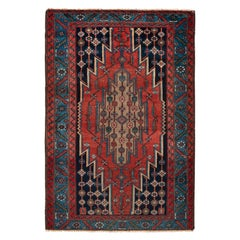 Hand Knotted Antique Mazlaghan Persian Rug in Red and Blue Medallion Pattern