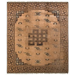Hand-Knotted Antique Mongolian Rug in Beige-Brown Geometric Medallion Pattern