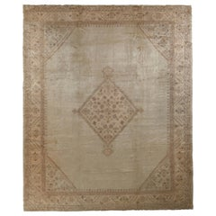 Hand-Knotted Antique Oushak Rug in Beige Medallion Pattern
