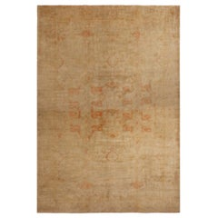 Hand Knotted Antique Oushak Rug in Orange Beige Geometric Pattern