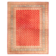 Hand Knotted Antique Oushak Rug in Red and Beige Brown Paisley Pattern