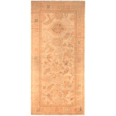 Hand Knotted Antique Oushak Style Rug in Beige All-Over Floral Pattern