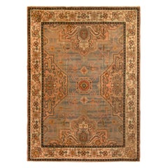 Hand Knotted Antique Oushak Style Rug in Blue and Pink Medallion Style