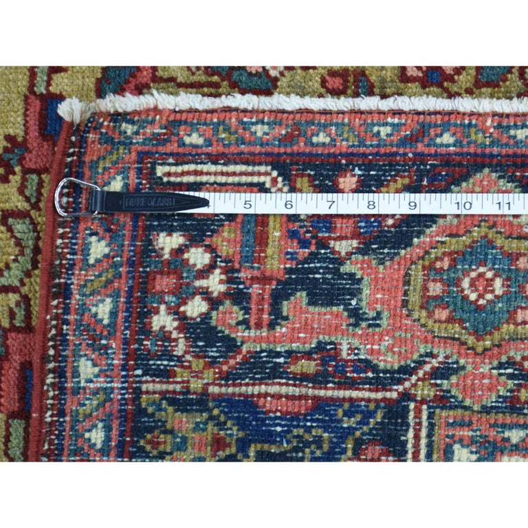 Wool Hand Knotted Antique Persian Heriz Mint Condition Oriental Rug For Sale