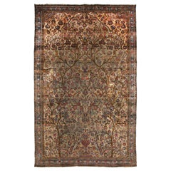 Hand-Knotted Antique Persian Rug in Blue and Beige-Brown Floral Pattern