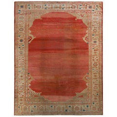 Hand-Knotted Antique Persian Sultanabad Rug in Red Open Field and Floral Border
