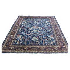 Hand-Knotted Antique Persian Tabriz Navy Blue Full Pile Rug