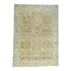 Hand Knotted Antique Persian Tabriz with All-Over Design Abrash Oriental Rug