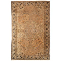 Hand Knotted Antique Polonaise Rug in Beige Brown and Blue Floral Pattern