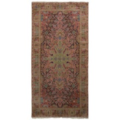 Hand Knotted Antique Polonaise Rug in Pink and Green Floral Medallion Pattern