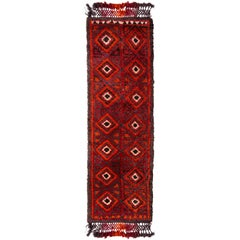 Hand Knotted Antique Rug Red Moroccan Style Runner High Pile and Diamond Pattern