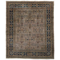 Hand-Knotted Antique Samarkand Rug in Beige-Brown Geometric Pattern