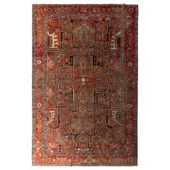 Hand Knotted Antique Serapi Rug Geometric Burnt Red and Blue Persian Rug