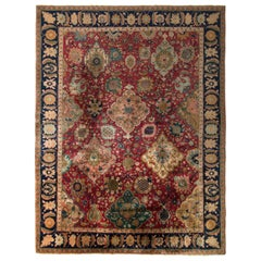 Hand Knotted Antique Shahrestan Rug in Red and Beige-Brown Floral Pattern