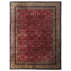 Hand Knotted Antique Sivas Rug in Red and Beige-Brown Floral Pattern