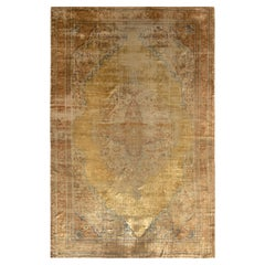 Hand-Knotted Antique Tabriz Persian Rug, Gold and Beige-Brown Medallion Pattern