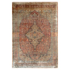 Hand-Knotted Antique Tabriz Persian Rug in Orange, Beige-Brown Medallion Pattern
