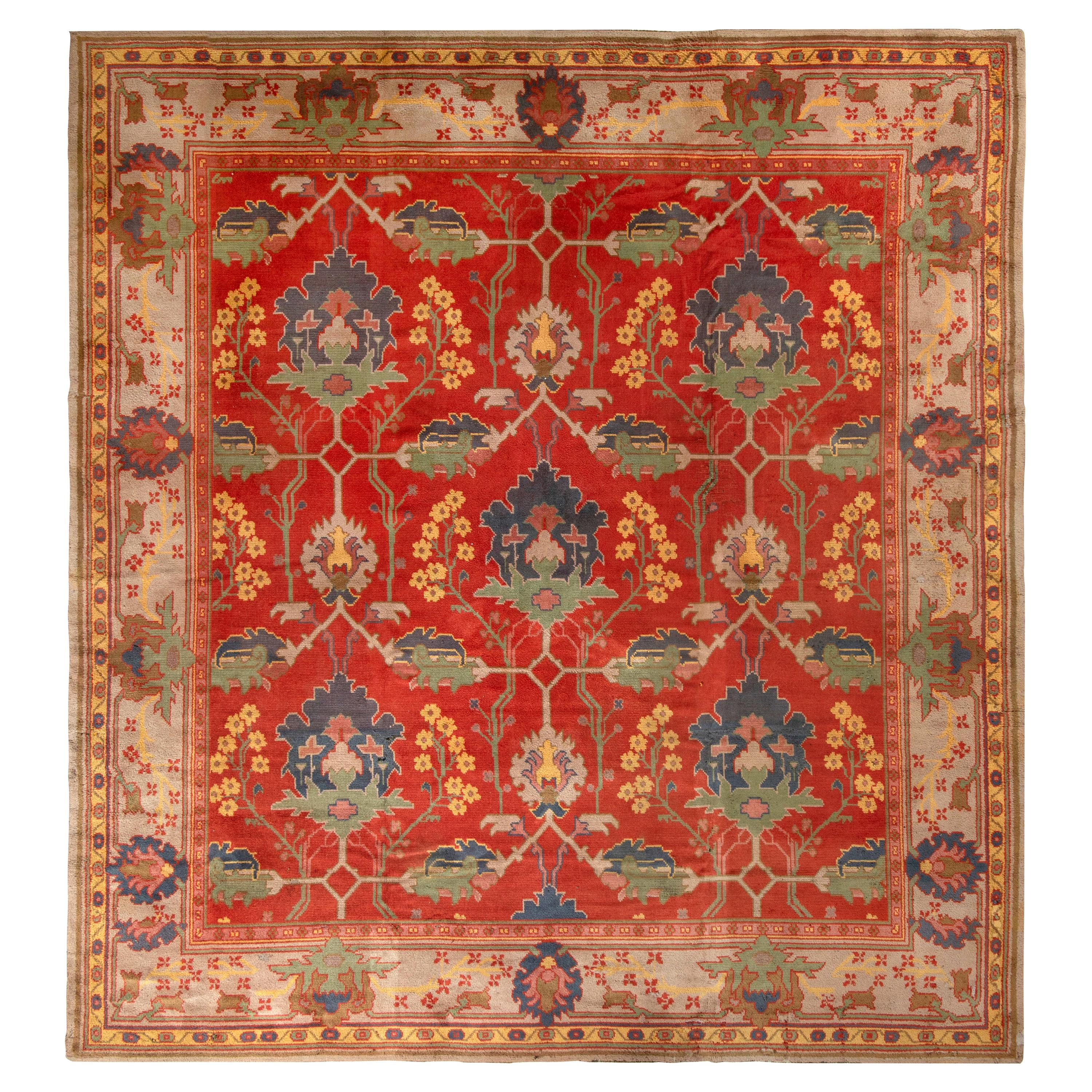Hand-Knotted Antique Voysey Arts & Crafts Rug in Red and Beige-Brown Floral