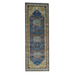 Hand Knotted Antiqued Bakshaish Oriental Wide Runner Rug
