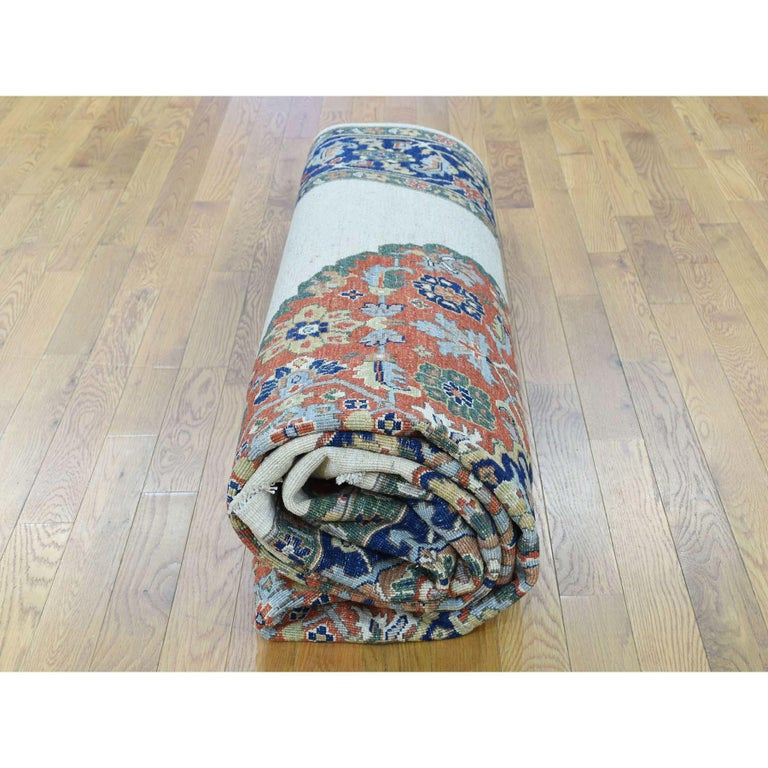 Hand Knotted Antiqued Bijar Pure Wool Oriental Rug For Sale 3