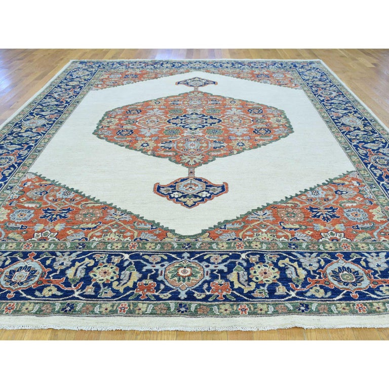 This is a truly genuine one-of-a-kind hand knotted antiqued bijar pure wool Oriental rug. It has been knotted for months and months in the centuries-old Persian weaving craftsmanship techniques by expert artisans. Measures: 10'3