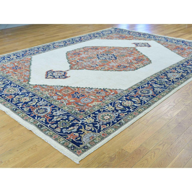 Other Hand Knotted Antiqued Bijar Pure Wool Oriental Rug For Sale