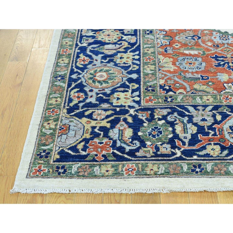 Hand-Knotted Hand Knotted Antiqued Bijar Pure Wool Oriental Rug For Sale