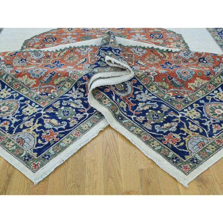 Hand Knotted Antiqued Bijar Pure Wool Oriental Rug In New Condition For Sale In Carlstadt, NJ