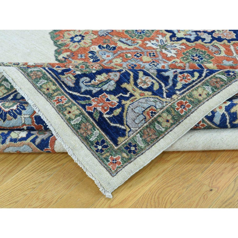 Contemporary Hand Knotted Antiqued Bijar Pure Wool Oriental Rug For Sale