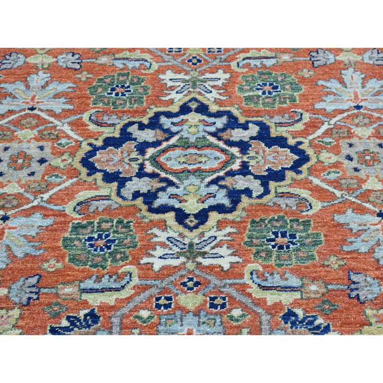 Hand Knotted Antiqued Bijar Pure Wool Oriental Rug For Sale 1
