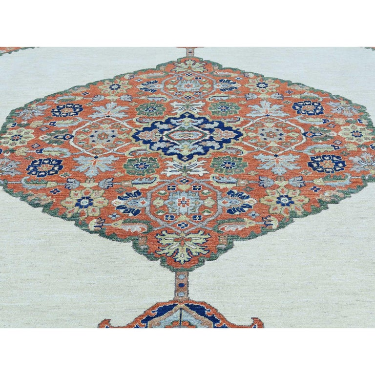 Hand Knotted Antiqued Bijar Pure Wool Oriental Rug For Sale 2