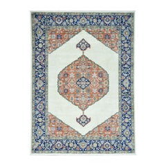 Hand Knotted Antiqued Bijar Pure Wool Oriental Rug