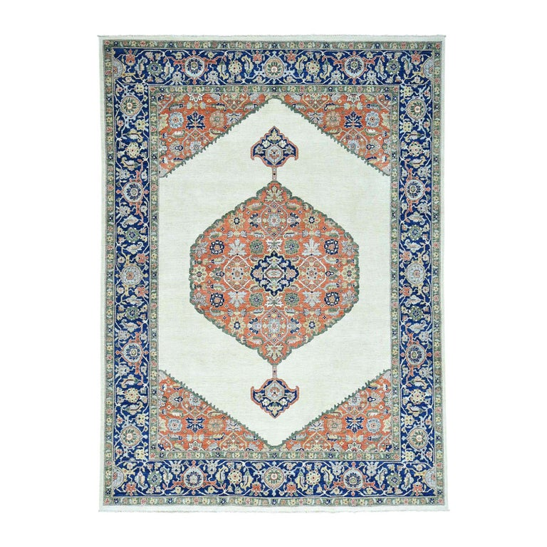 Hand Knotted Antiqued Bijar Pure Wool Oriental Rug For Sale