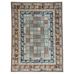 Hand Knotted Antiqued Pazyryk Historical Design Oriental Rug