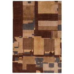 Hand Knotted Art Deco Rug Beige Brown Blue Cubist Pattern by Rug & Kilim