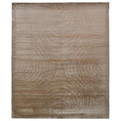 Rug & Kilim's Hand Knotted Art Deco Style Rug, Beige Brown Circle Wave Pattern