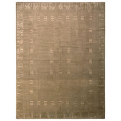Hand Knotted Art Deco Style Rug Beige Green Custom Pattern by Rug & Kilim
