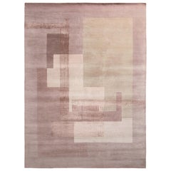 Hand Knotted Art Deco Style Rug in Pink Geometric Pattern by Rug & Kilim