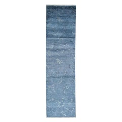 Hand Knotted Art Silk Modern Dark Grey Oriental Runner Rug