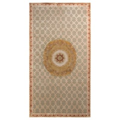 Rug & Kilim's Hand Knotted Aubusson Style Rug in Beige-Brown Medallion Pattern