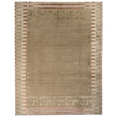 Hand Knotted Austrian Art Deco Style Rug Beige Brown Green Pattern