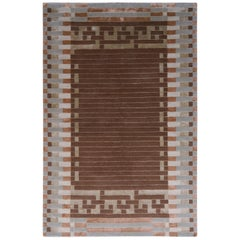 Hand-Knotted Austrian Art Deco Style Rug Brown Green Pattern by Rug & Kilimi