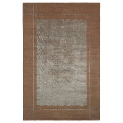 Hand Knotted Austrian Art Deco Style Rug in Brown and Blue by Rug & Kilim