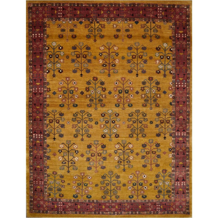 Arts And Crafts Rugs With Exciting Indian Agra Rug Design: Hand-Knotted Baharlu Design Rug For Sale At 1stdibs