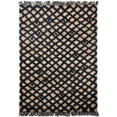 Hand Knotted Base Plaited Customizable Diamond Weave in Black Extra Large