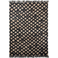 Hand Knotted Base Plaited Customizable Diamond Weave in Black Large
