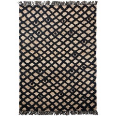 Hand Knotted Base Plaited Customizable Diamond Weave in Black Small