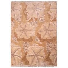 Hand Knotted Beige Brown Modern Rug Custom Floral Pattern by Rug & Kilim