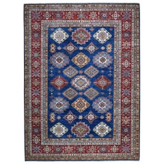 Hand Knotted Blue Super Kazak Pure Wool Oriental Rug